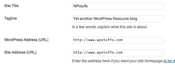 URL settings WordPress