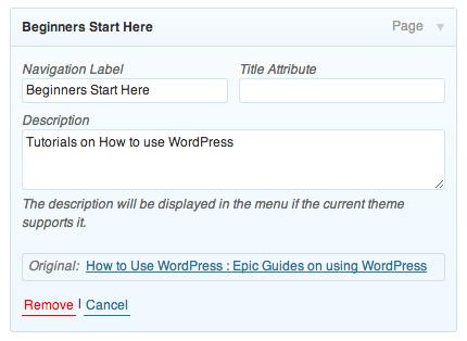 Wordpress Menu Description