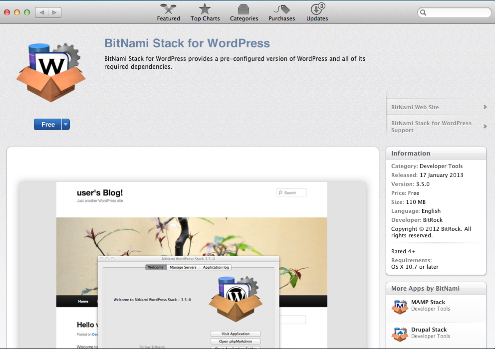 Now you can Install WordPress from Mac App Store