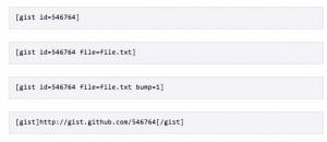 Github Gist Embed shortcodes