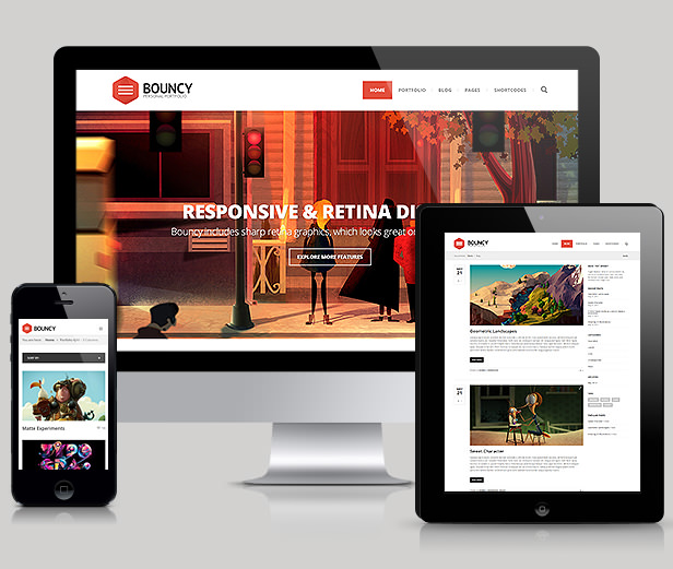Bouncy - Mobile Responsive Portfolio WordPress Theme Download